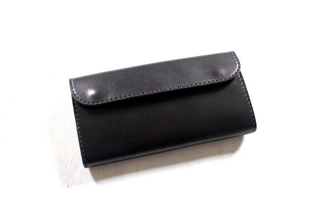 【受注生産品】フラップ長財布 ~栃木ブラックサドル オールブラック~の画像1枚目
