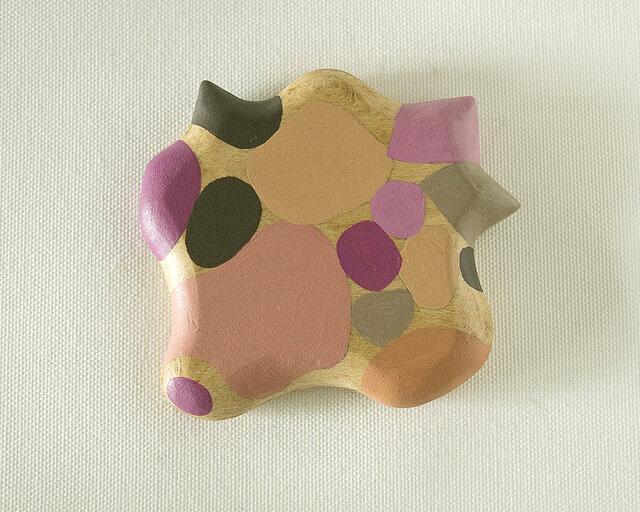 木彫り手鏡 さ・い・ぼ・う(ピンク&グレー)growの画像1枚目