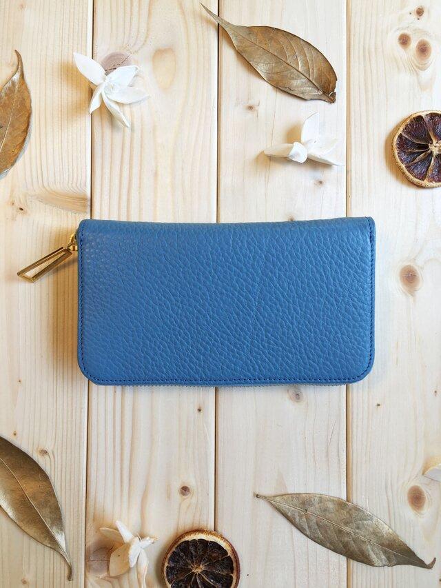 ふっくらシュリンクシリーズ≪ブルー≫ラウンド型長財布 姫路レザーの画像1枚目