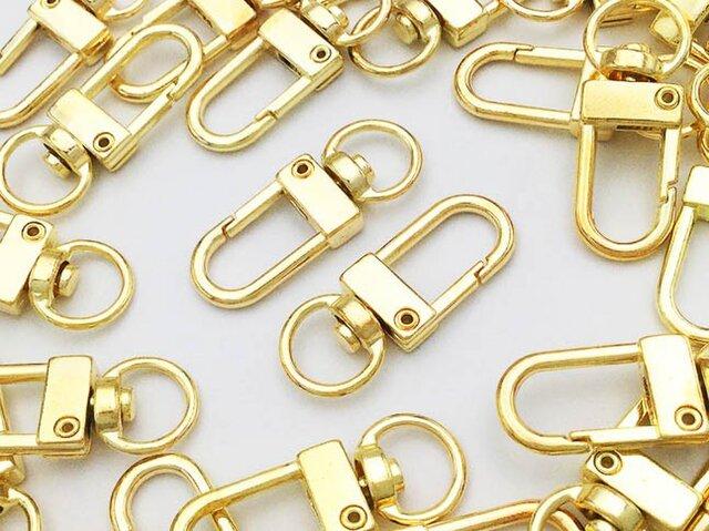 送料無料 ナスカン ゴールド 30個 薄型 回転フック キーホルダー ストラップ パーツ ハンドメイド 金具(AP0489)の画像1枚目