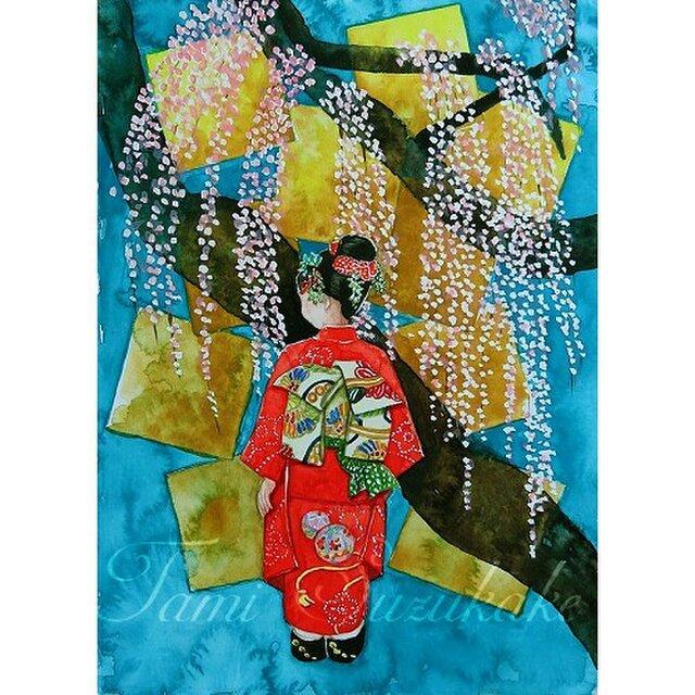 水彩画・原画「枝垂れ桜」の画像1枚目
