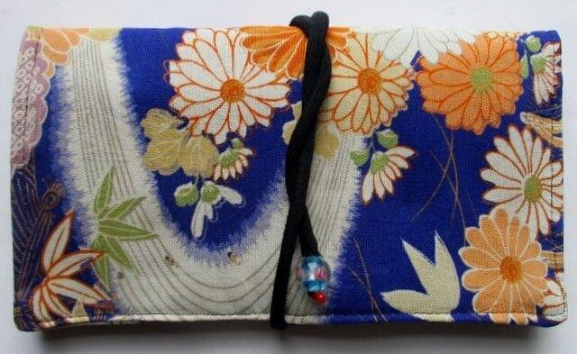 送料無料 花柄の着物で作った和風財布・ポーチ 3403の画像1枚目