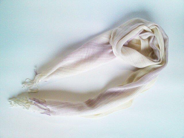 SALE 手織 藤色×生成グラデーション コットンストール 30cmの画像1枚目