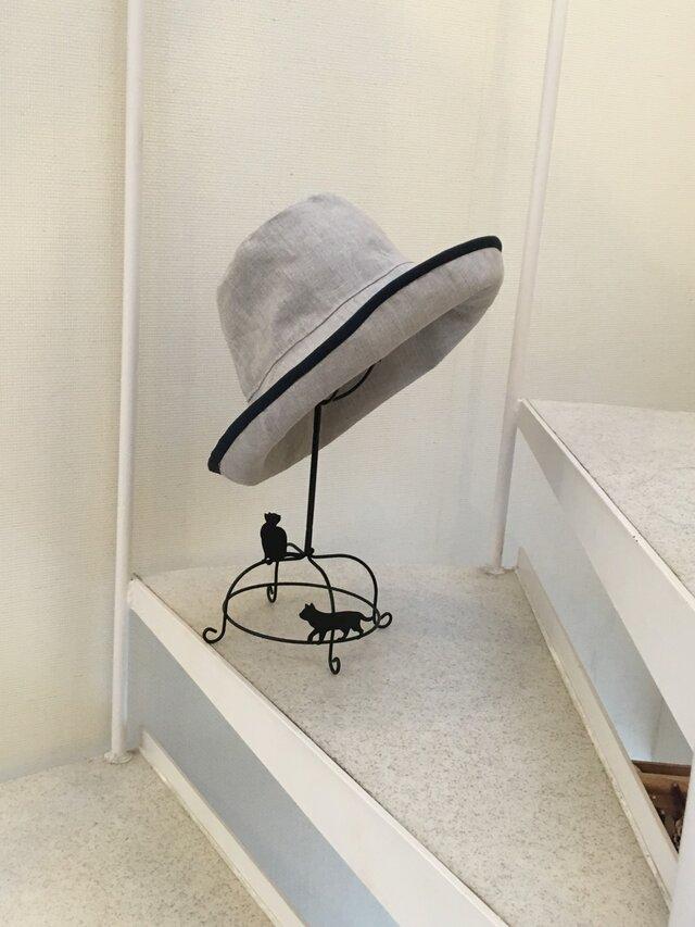 亜麻色 リネンキャプリーヌパイピング 帽子   55〜57cmの画像1枚目