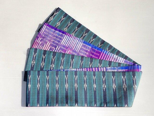 タイシルク紫渦巻き絣と花織りブルーグレー半幅帯の画像1枚目