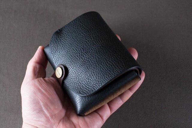イタリア製牛革の二つ折り財布2  /   ブラック / チョコ※受注製作の画像1枚目