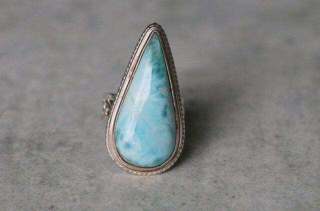 天然石*ラリマー 指輪*12号 SVの画像1枚目