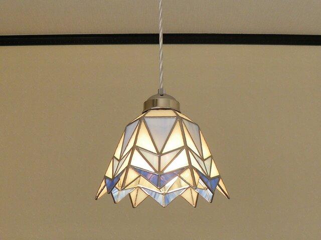 ペンダントライト・三角幾何学模様B(ステンドグラス)吊り下げ照明・ガラス  Lサイズ・(コード長さ調節可)21の画像1枚目