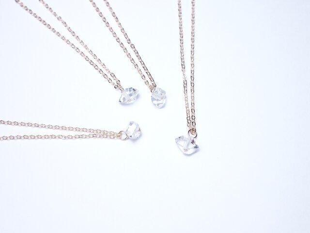 【K14gf/ハーキマーダイヤモンド】シリウス 一粒ネックレスの画像1枚目