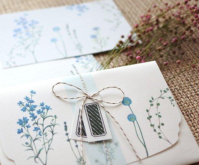 ブルーの花たちのレターセットの画像1枚目