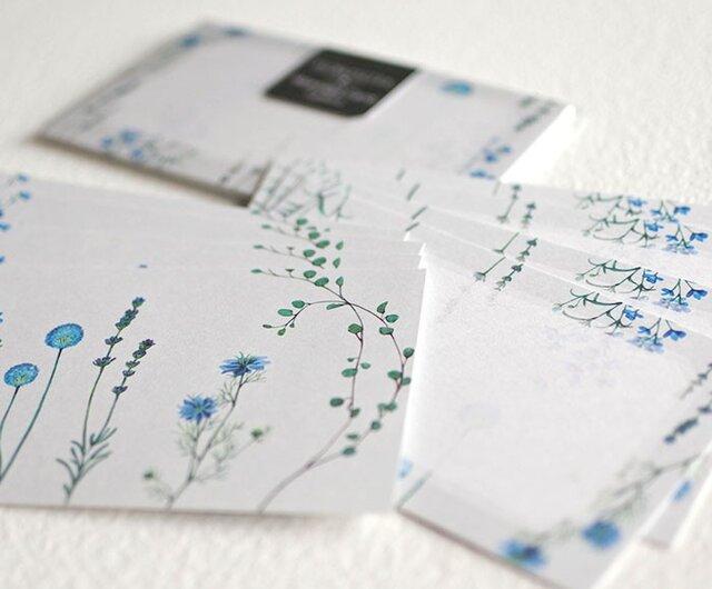 ブルーの花たちのメッセージカードの画像1枚目