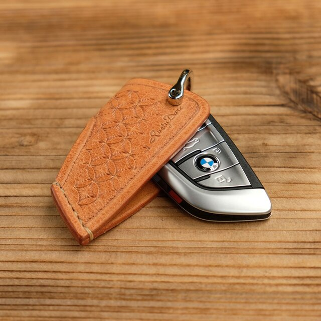 キースリーブ BMW5スライドオープン /イタリア産高級レザー:ナチュラル *受注製作/スタンピングの画像1枚目
