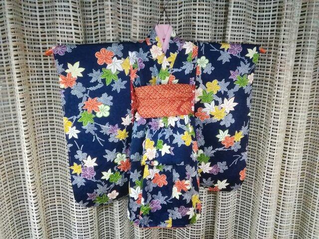 ♪市松人形の着物18号サイズ紺86の画像1枚目