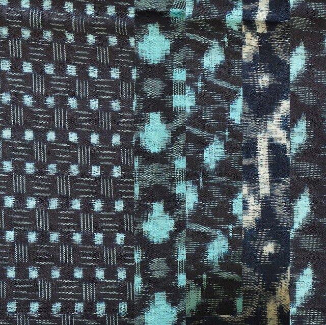 ks0001 絣木綿ハギレ50cm5枚セット☆古布・古裂/筒描き/型染め/藍染/の画像1枚目