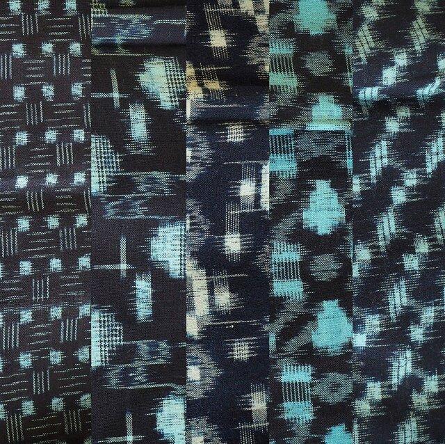 ks0003 絣木綿ハギレ50cm5枚セット☆古布・古裂/筒描き/型染め/藍染/の画像1枚目