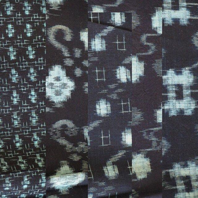 ks0006 絣木綿ハギレ50cm5枚セット☆古布・古裂/筒描き/型染め/藍染/の画像1枚目