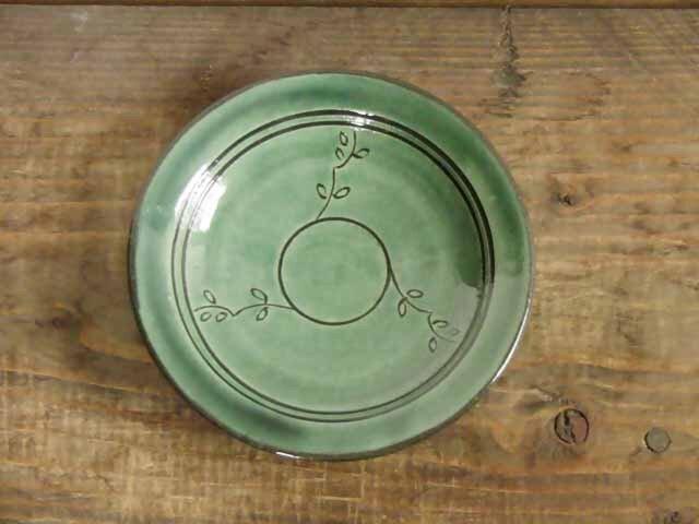 葉模様の皿(緑)/オーダーメイド受付可の画像1枚目