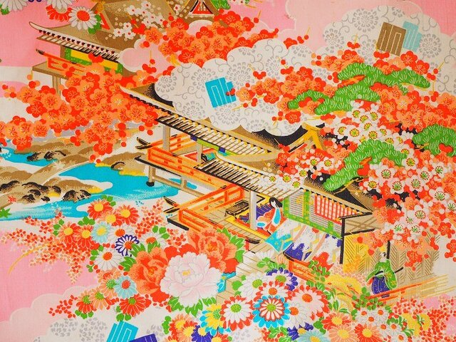 k000502 御所車紋様子供着物ハギレ☆古布・古裂 /筒描き/型染め/藍染/絞り/錦紗縮緬の画像1枚目