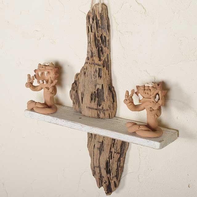 流木の壁掛けシェルフ飾り棚-17の画像1枚目