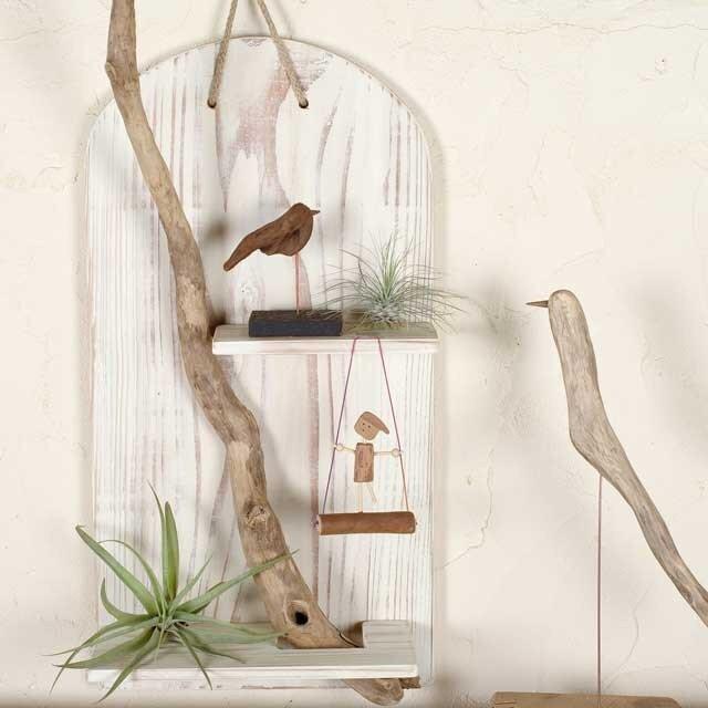 流木の壁掛けシェルフ飾り棚-11の画像1枚目