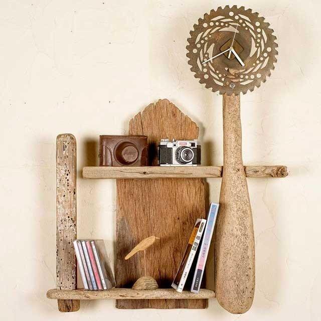流木の壁掛けシェルフ飾り棚-時計付きー2の画像1枚目