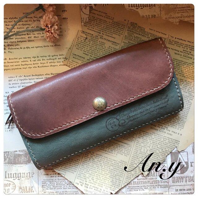 【再販】オイルレザー二色使い長財布 アンティークグリーン×チョコブラウンの画像1枚目