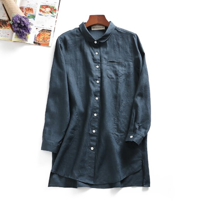 f8040311 これからの季節にピッタリ リネンのロングシャツの画像1枚目