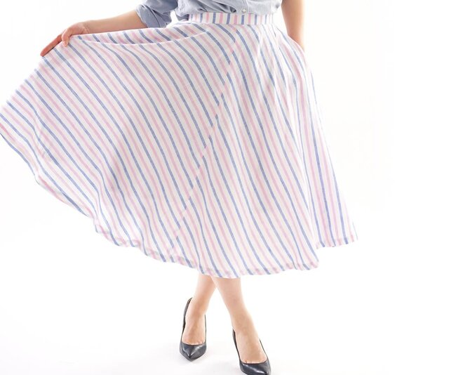 【wafu】薄地 リネンスカート フレンチリネン フレア 膝下 ミモレ丈 / ブルー×ピンク×ホワイト s002c-bpk1の画像1枚目