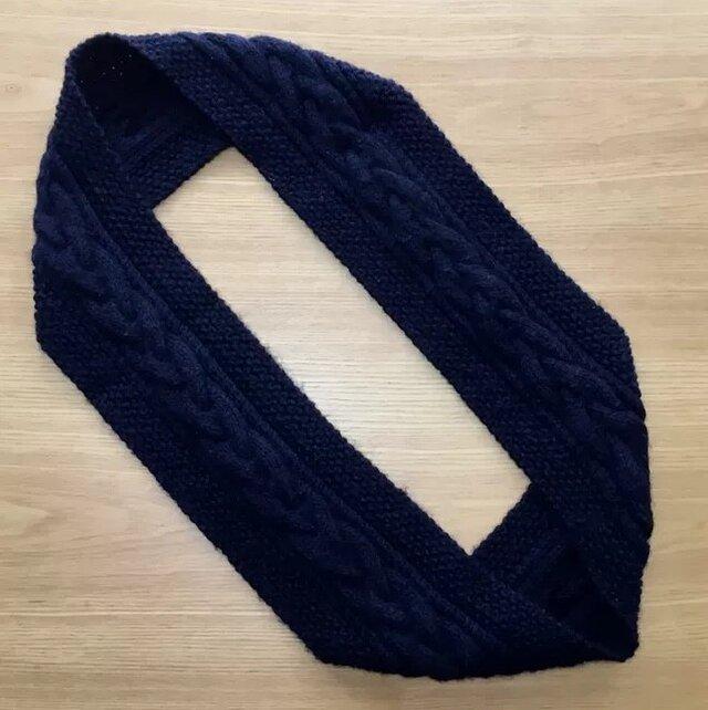 ケーブルとかのこ編みのスヌードの画像1枚目
