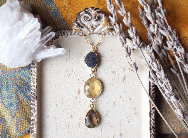 シトリン・スモーキークォーツ・ドゥルージーのネックレスの画像1枚目
