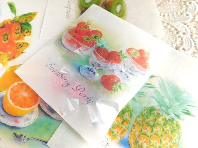ワックスペーパー平袋3枚セット:果物1の画像1枚目