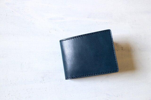 【受注生産品】二つ折り財布 ~栃木アニリン青×栃木ブラックサドル~の画像1枚目