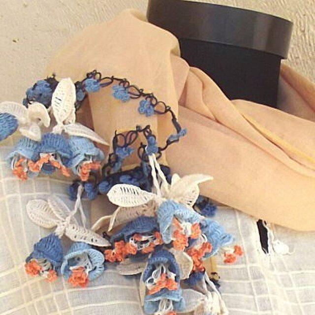 立体レース 花のコットンストール オーガニックコットン ベージュコットンとブルーのお花たちの画像1枚目