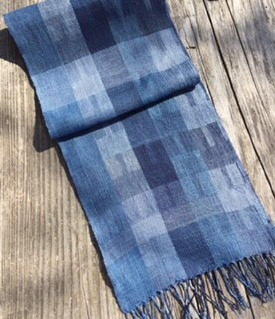 ■手織/リネン単糸スカーフ/スクゥエアの画像1枚目