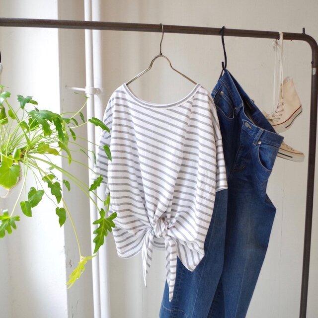 2way エーゲ海コットンボーダー裾結びTシャツ(gray × white)の画像1枚目