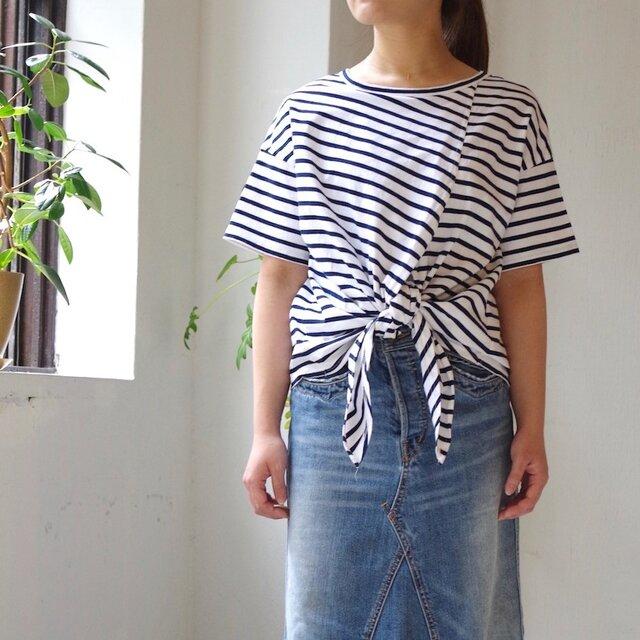 2way エーゲ海コットンボーダー裾結びTシャツ(navy × white)の画像1枚目