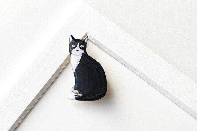白黒猫 オスワリ ブローチ(ボックス入)の画像1枚目