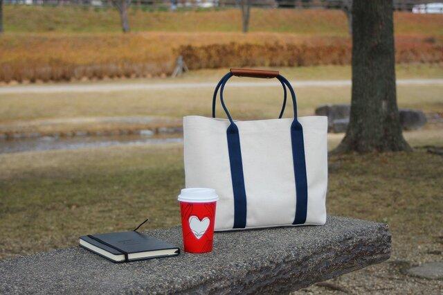 購入特典有り★革の持ち手カバー付き★トートバッグ 【キナリ*ブルー】の画像1枚目