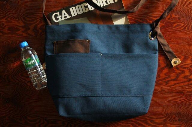 購入特典有り★外ポケット付き★長さ調節できる ショルダーバッグ ブルーの画像1枚目