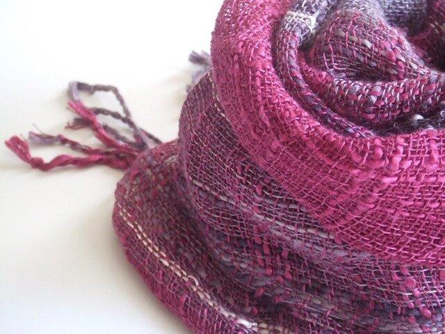 手織りシルク×リネンのストール・・ボルドーの画像1枚目