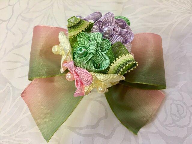 ハワイアンリボンレイ【紫陽花のコサージュ ミックス系】完成品の画像1枚目