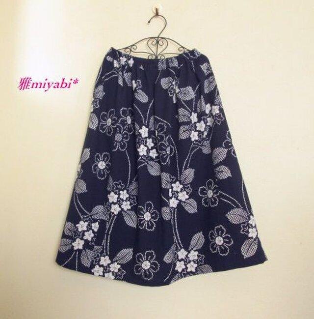 裏付紺地花柄ふんわり浴衣着物スカートの画像1枚目