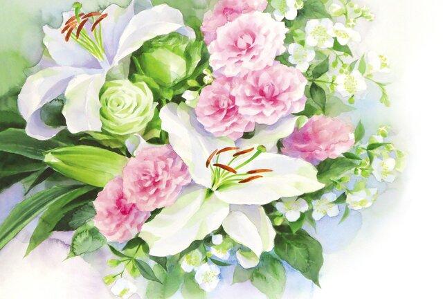 ☆ポストカード3枚セット☆108「バラとカサブランカ」☆の画像1枚目