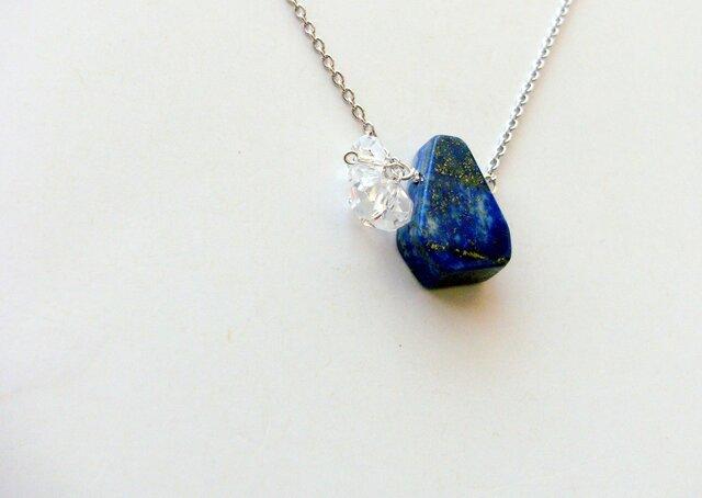 SV925 *ラピスラズリと水晶のネックレスの画像1枚目