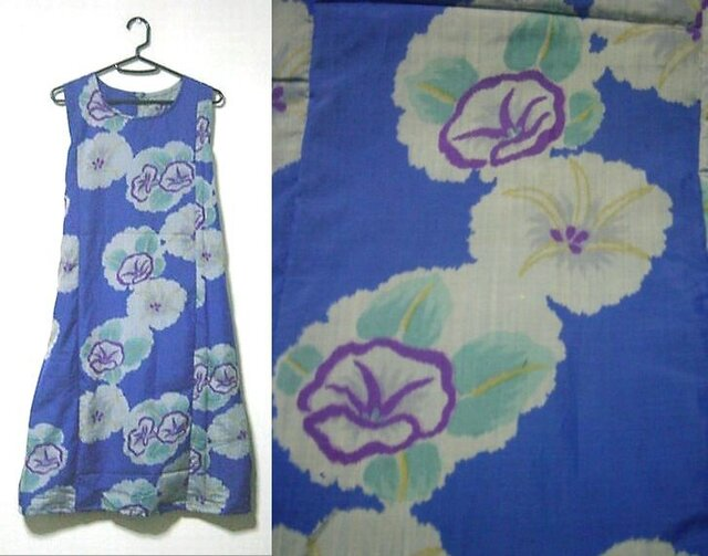 Sold Out着物リメイク♪ブルーに朝顔が可愛い銘仙Aラインワンピース♪ハンドメイド♪春ー初夏の画像1枚目