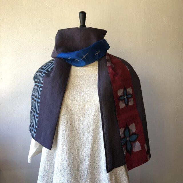 銘仙と播州織のストール014(紫×紫)スカーフ 麻 リネン コットンの画像1枚目