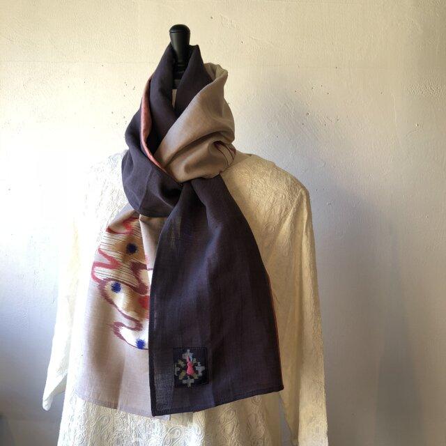 銘仙と播州織のストール015(紫×ベージュ)スカーフ 麻 リネン コットンの画像1枚目