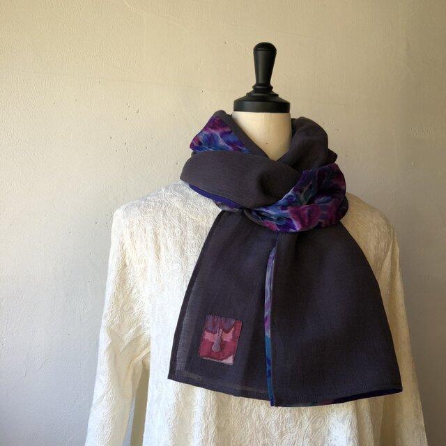 銘仙と播州織のストール017(紫×紫)スカーフ 麻 リネン コットンの画像1枚目