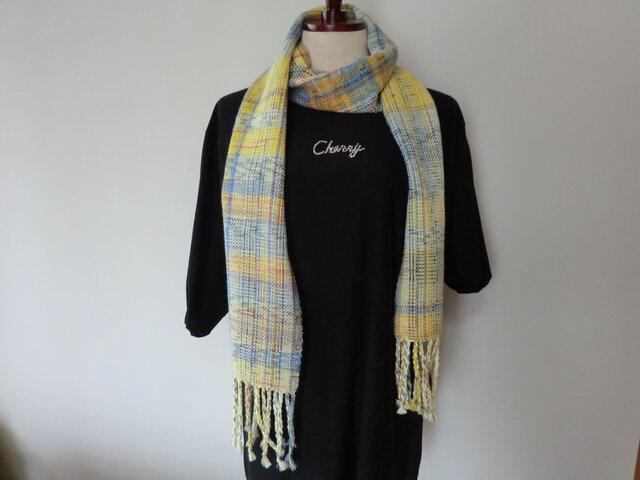 おしゃれな手織りのストール 黄、ブルー、ピンクのミックス調の画像1枚目