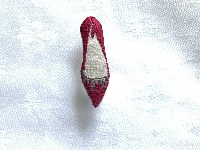 shoe shoe shoe刺繍ブローチNo.72(ボルドー)の画像1枚目